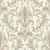 Texture Graystone Estate Feathered Damask HD6948 Cream-Grey Wallpaper