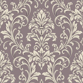 Texture Graystone Estate Feathered Damask HD6951 Mauve-White Wallpaper