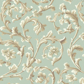 Texture Graystone Estate Grand Hunt Scroll HD6968 Mint Green Wallpaper