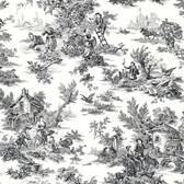 AT4228 - Ashford House Black & White Campagne Toile Grey-White Wallpaper