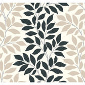 Ashford House Black & White - BL0318 Tres Chic Wallpaper in Tan and Green