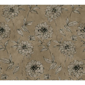 Whisper Prints Sketched Rose Wallpaper -BR6220-Pearled Platinum Metallic-Frothy Off White-Pitch Black