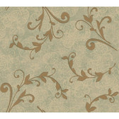Whisper Prints Leafy Scroll Wallpaper -BR6241-Metallic Pearled Spa Green-Gold Pearl Metallic-Ecru