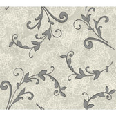 Whisper Prints Leafy Scroll Wallpaper -BR6242-Soft Metallic Pearl Silver-Antique Ivory-Slate Gray-Deep Silver Pearl Metallic
