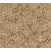 Whisper Prints Leafy Scroll Wallpaper -BR6245-Deep Putty-Copper Pearl Metallic-Soft Matt Copper