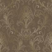 Whisper Prints Linear Damask Wallpaper-BR6269-Deep Mocha-Deep Gold Pearl Metallic