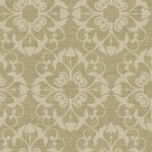 Ash Brown NA0212 Damask on Faux Wood Wallpaper