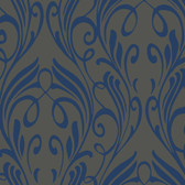 Grey NA0256 Damask Leaf Scroll Wallpaper