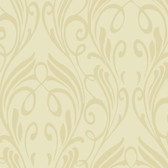 Light Beige NA0257 Damask Leaf Scroll Wallpaper