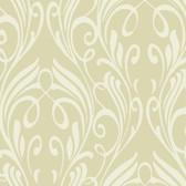 Light Taupe NA0258 Damask Leaf Scroll Wallpaper