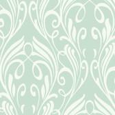 Soft Blue NA0259 Damask Leaf Scroll Wallpaper