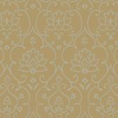 Soft Brown NA0264 Damask Floral Insignia Wallpaper