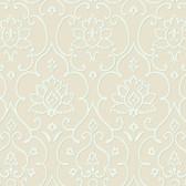 Pinkish Brown NA0265 Damask Floral Insignia Wallpaper