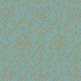 Teal NA0266 Damask Floral Insignia Wallpaper