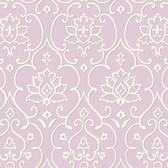 Greyish White NA0269 Damask Floral Insignia Wallpaper