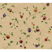 Kitchen & Bath Pansy Trail Wallpaper KH7015 in Beige, Green, and Violet