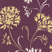 DL30456 - Accents Nerida Purple Floral Silhouette Wallpaper