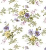 AL13692 Julie White Floral Bouquet Wallpaper