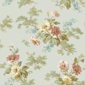 AL13694 Julie Blue Floral Bouquet Wallpaper