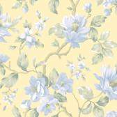 Berkin Large Floral Vine Yellow-Sapphire Wallpaper AL13722