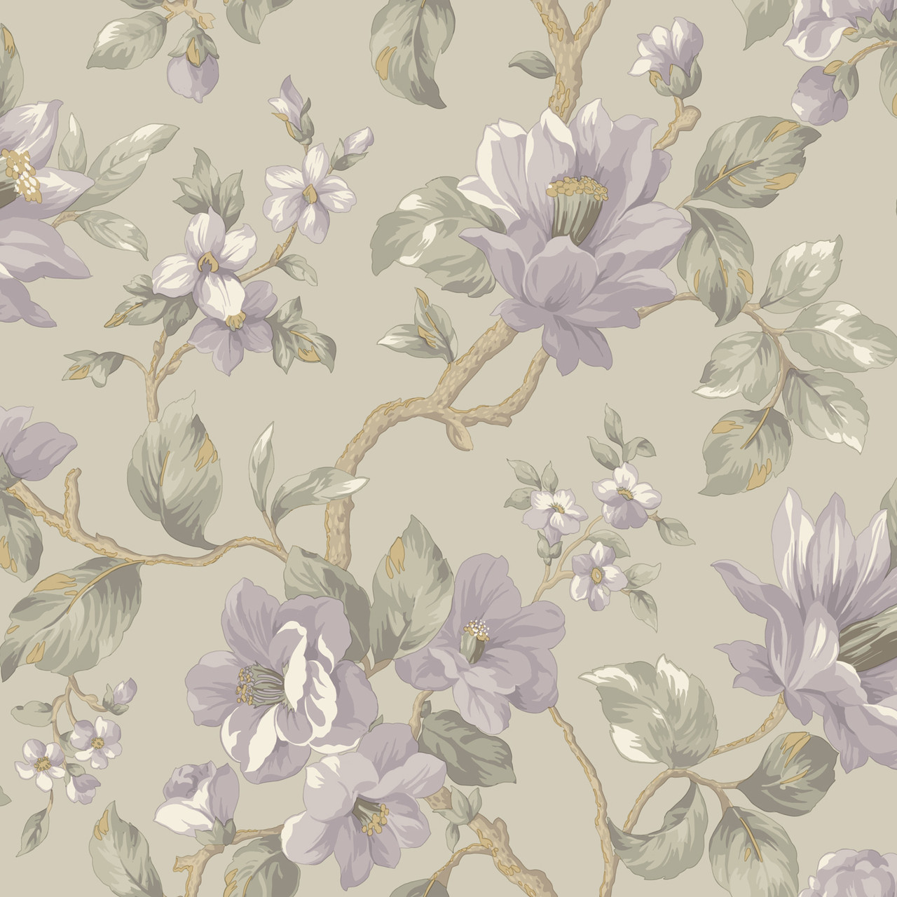 Al13723 Berkin Grey Large Floral Vine Wallpaper
