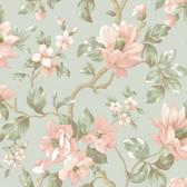 Berkin Large Floral Vine Pistachio-Coral Wallpaper AL13724