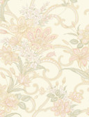 AL13741 Wren Pink Jacobean Floral Mosaic Wallpaper