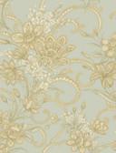 AL13745 Wren Blue Jacobean Floral Mosaic Wallpaper
