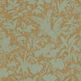 AL13754 Fauna Brown Silhouette Leaves Wallpaper
