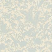 AL13758 Fauna Blue Silhouette Leaves Wallpaper
