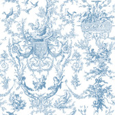 Ashford House Toiles Old World Toile Blue-Cream AT4241 Wallpaper