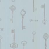 Addison Vintage Keys Slate Wallpaper 2532-20422