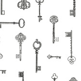 Addison Vintage Keys Charcoal Wallpaper 2532-20423