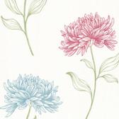 Dehlia Floral Toss Wallpaper Mulberry-Sapphire 2532-20430