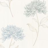 Dehlia Floral Toss Wallpaper Azure 2532-20431