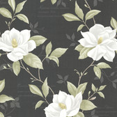 Cressida Magnolia Trail Ebony Wallpaper 2532-20437