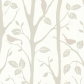 Corwin Bird Branches Taupe Wallpaper 2532-20446