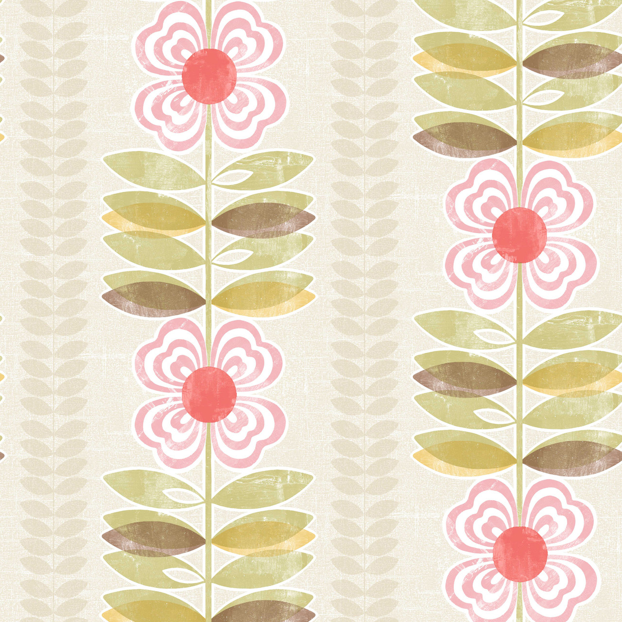 Avril Modern Floral Stripe Fuchsia Moss Wallpaper 2532 20672