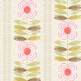 Avril Modern Floral Stripe Fuchsia-Moss Wallpaper 2532-20671