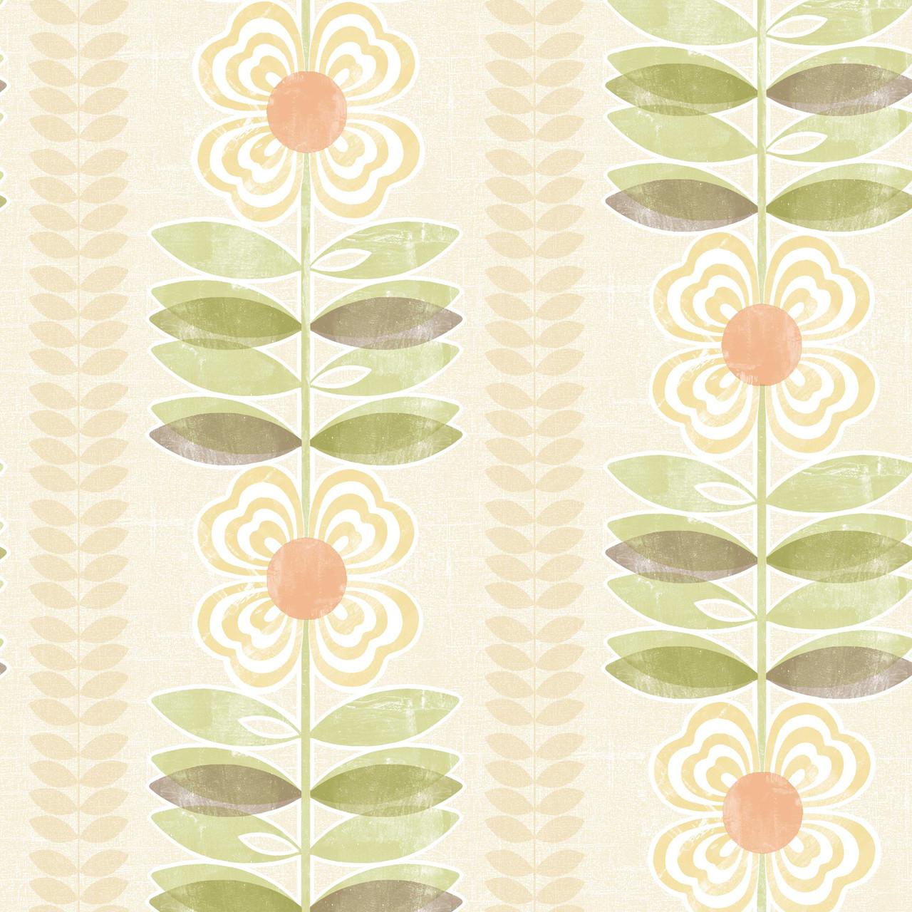 Avril Modern Floral Stripe Coral Sage Wallpaper 2532 20672