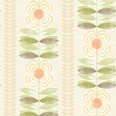 Avril Modern Floral Stripe Coral-Sage Wallpaper 2532-20672