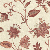 302-66822 La Belle Maison Heritage Jacobean Flower Burgundy Wallpaper