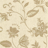 302-66824 La Belle Maison Heritage Jacobean Flower Gold Wallpaper