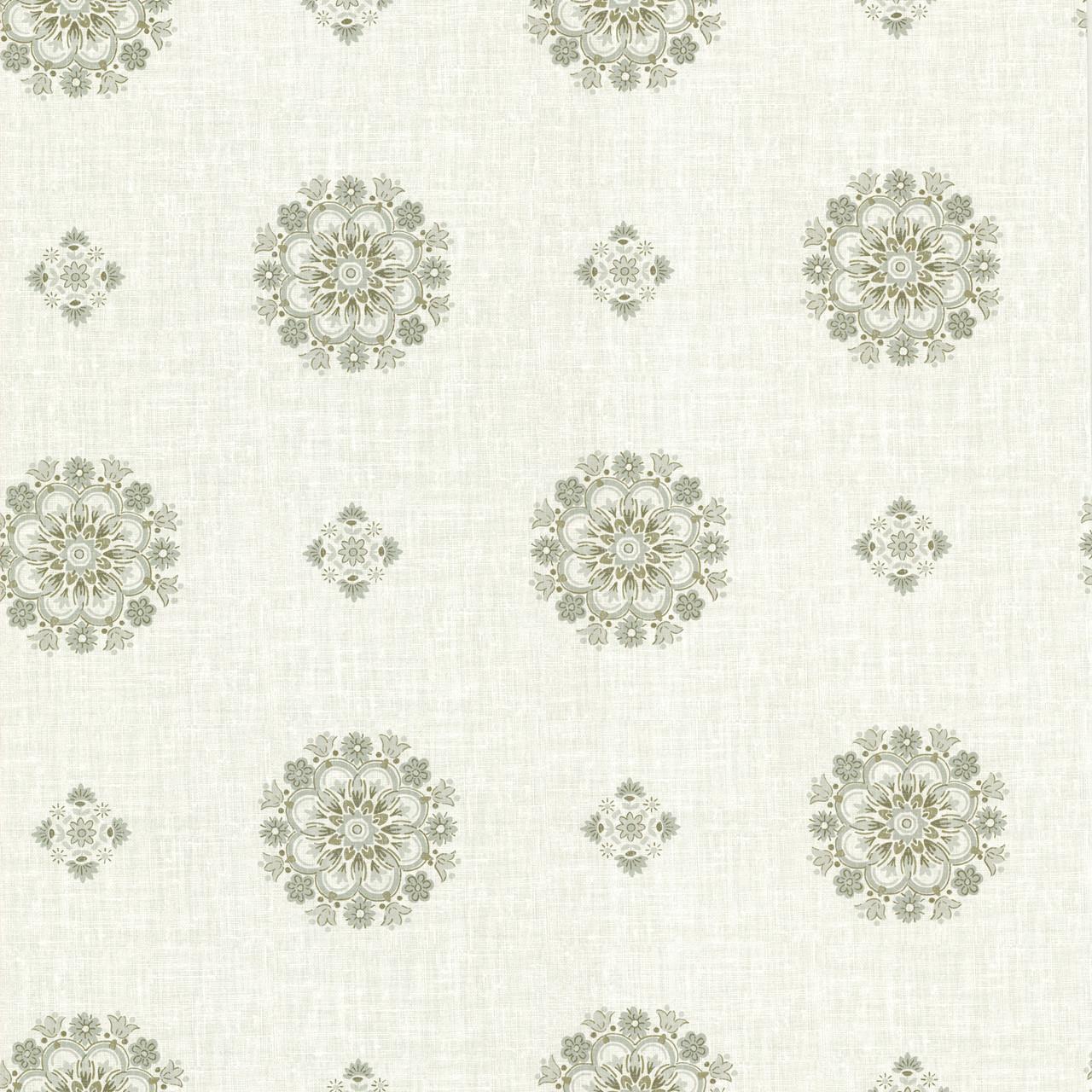 La Belle Maison Vintage Floral Medallion Moss Wallpaper 302 66825