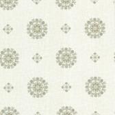 302-66825 La Belle Maison Vintage Floral Medallion Moss Wallpaper