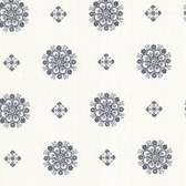 302-66826 La Belle Maison Vintage Floral Medallion Charcoal Wallpaper