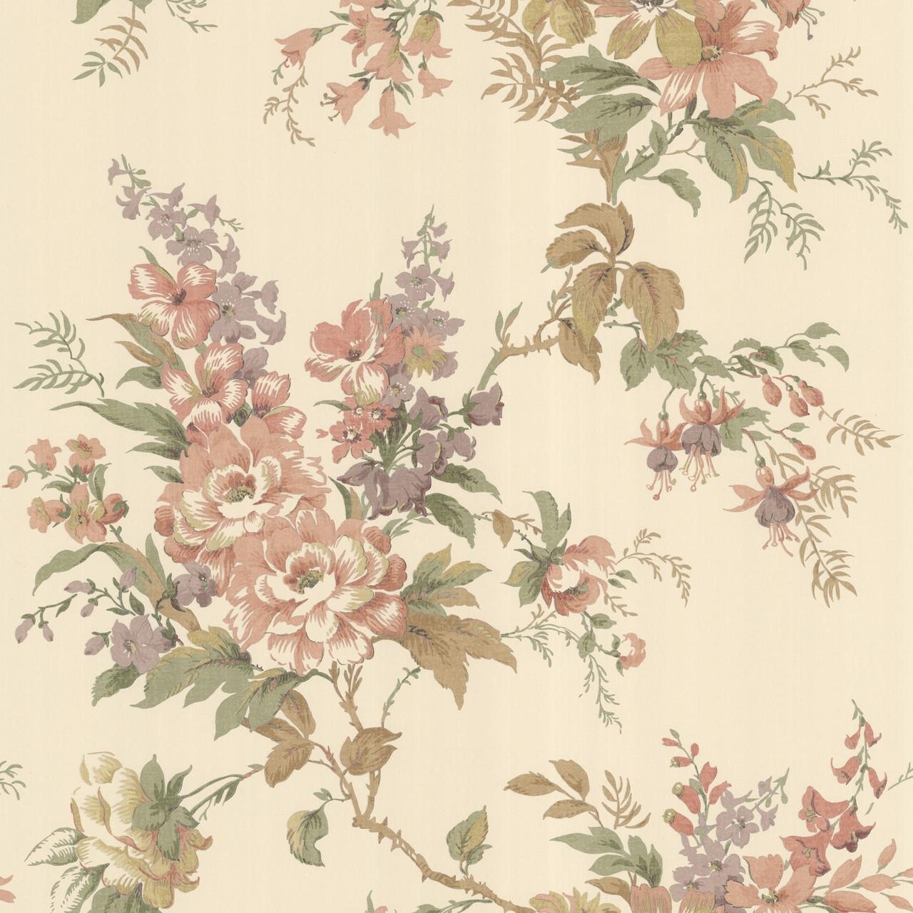 La Belle Maison Lush Floral Trail Coral Wallpaper 302 66837
