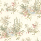 302-66846 La Belle Maison Pictorial Romance Toile Blush Wallpaper
