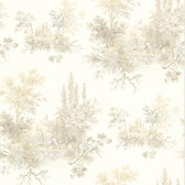 302-66848 La Belle Maison Pictorial Romance Toile Taupe Wallpaper
