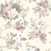302-66853 La Belle Maison Rosa Floral Medley Pink-Plum Wallpaper